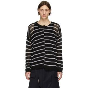 Isabel Benenato Black and White Half Collar Oversized Sweater