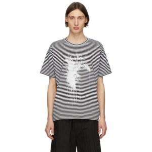 Isabel Benenato Black and White Striped Splash T-Shirt