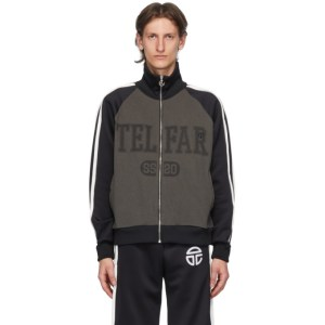 Telfar Black and Grey Raglan Track Jacket