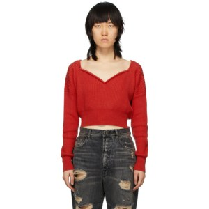 Unravel Red Cashmere V-Neck Sweater