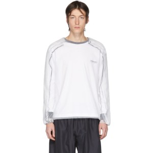 Y/Project White and Black Tulle Overlay Long Sleeve T-Shirt