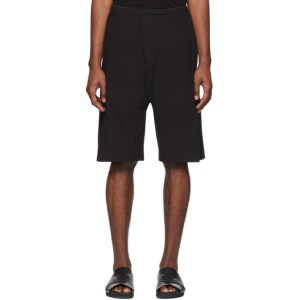 Jan-Jan Van Essche Black Checked Seersucker Shorts