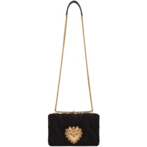 Dolce and Gabbana Black Wool and Cashmere Medium Devotion Bag
