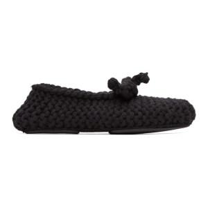 Dolce and Gabbana Black Merino Crochet Slippers