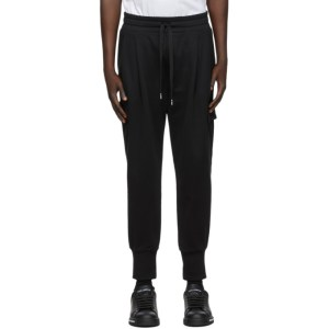 Dolce and Gabbana Black Embroidered Cargo Pants