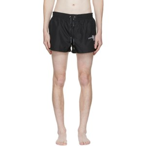 Dolce and Gabbana Black Embroidered Logo Swim Shorts