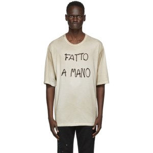 Dolce and Gabbana Beige Fatto A Mano T-Shirt