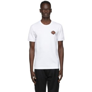 Dolce and Gabbana White Embroidered Logo T-Shirt