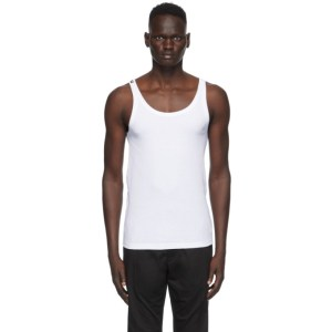 Dolce and Gabbana White Ribbed Tank Top