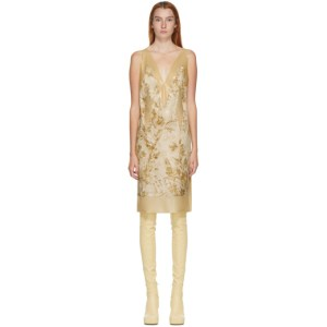 Kwaidan Editions SSENSE Exclusive Beige Satin Printed V-Neck Dress