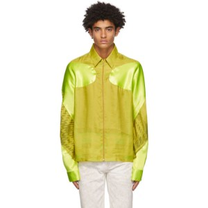 Marine Serre Green Silk Decoupe Track Jacket