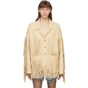 R13 Off-White Deerskin Fringe Jacket