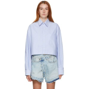 R13 Blue Oversized Cropped Shirt