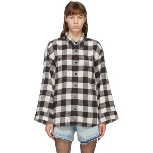 R13 Black and White Oversized Sleeve Shirt