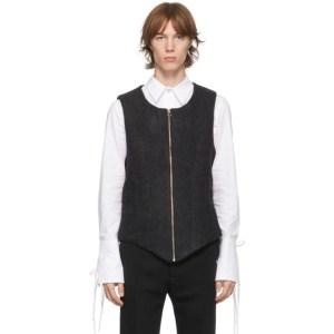 Palomo Spain Black Wool Zip-Front Vest