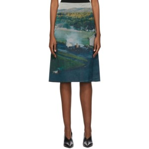 Namacheko Blue and Green Silk Gregory Mid-Length Skirt