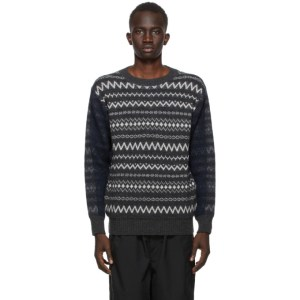 Comme des Garcons Homme Grey and Navy Wool Jacquard Sweater