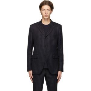Comme des Garcons Homme Deux Navy Wool Pinstripe Blazer