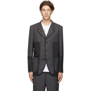 Comme des Garcons Homme Deux Grey and Black Panelled Check Blazer