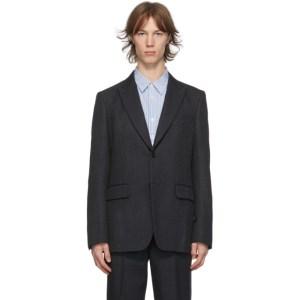Comme des Garcons Homme Deux Grey Wool Yarn-Dyed Blazer