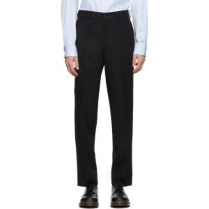 Comme des Garcons Homme Deux Black Wool Yarn-Dyed Trousers