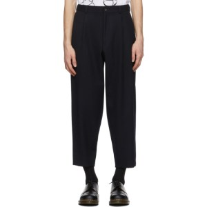 Comme des Garcons Homme Deux Navy Wool Gabardine Thick Trousers