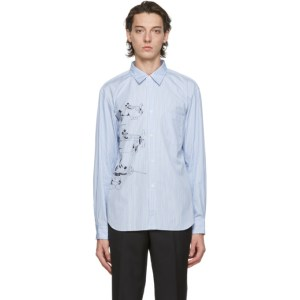 Comme des Garcons Homme Deux Blue and White Disney Edition Striped Printed Shirt