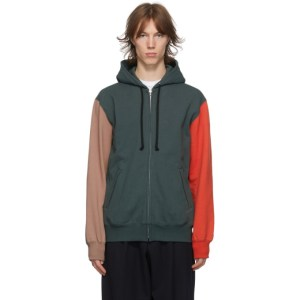 Comme des Garcons Homme Deux Green and Brown Colorblock Hoodie