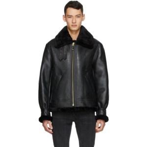 Schott Black Sheepskin Fur B-3 Jacket