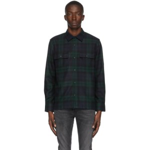 Nudie Jeans Navy and Green Wool Sten Blackwatch Shirt