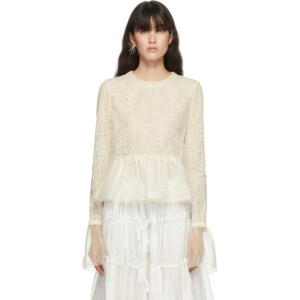 Renli Su Off-White Wool and Silk Lace Blouse