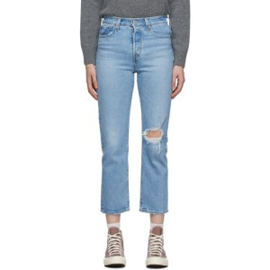 Levis Blue Distressed Wedgie Straight Jeans