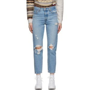 Levis Blue Distressed Wedgie Fit Ankle Jeans