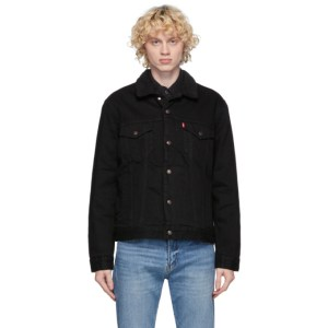 Levis Black Denim Sherpa Trucker Jacket