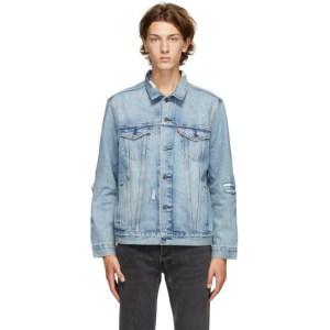 Levis Blue Denim Ripped Trucker Jacket