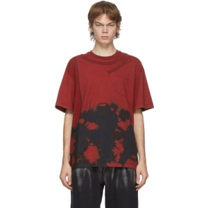 Feng Chen Wang Red Tie-Dye Panelled T-Shirt