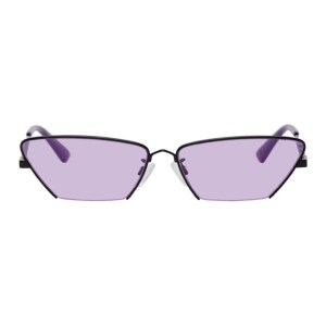 McQ Alexander McQueen Black and Purple McQ Swallow Cat-Eye Sunglasses