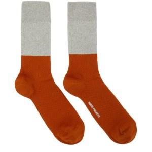 Norse Projects Grey and Orange Colorblock Bjarki Socks