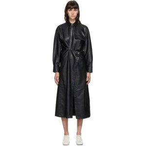 Markoo SSENSE Exclusive Black Faux-Leather Snap Front Dress