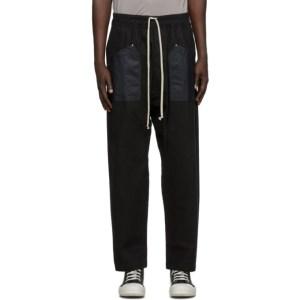 Rick Owens Drkshdw Black Long Drawstring Cargo Pants