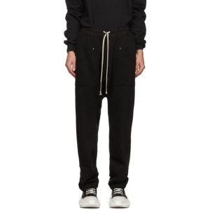 Rick Owens Drkshdw Black Fleece Drawstring Cargo Pants