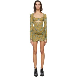 Charlotte Knowles SSENSE Exclusive Tan and Green Scant Dress