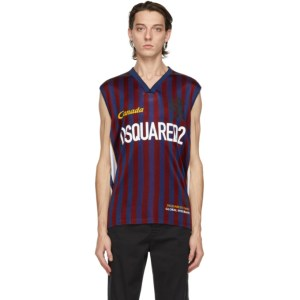 Dsquared2 Blue and Red Striped Tank Top