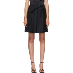 Situationist SSENSE Exclusive Black Wool Belted Pleats Miniskirt