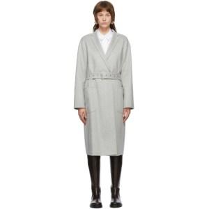 Helmut Lang Grey Belted Cash Coat