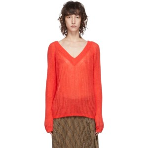 Helmut Lang Red Alpaca Double V Sweater