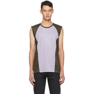 Martin Asbjorn Purple and Black Brent Muscle Tank Top