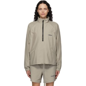 Essentials Grey Nylon Track Jacket