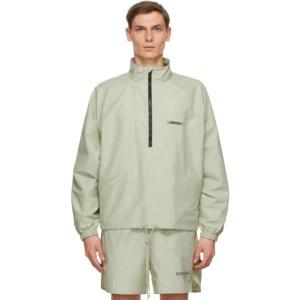 Essentials Green Half-Zip Track Jacket