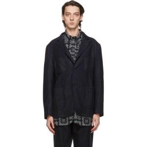 Engineered Garments Navy Wool Striped NB Jacket